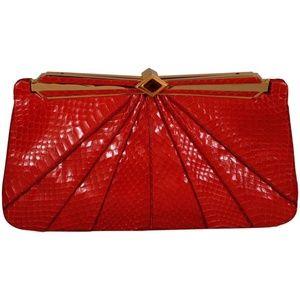 Judith Leiber Red Snakeskin Clutch or Shoulder Bag